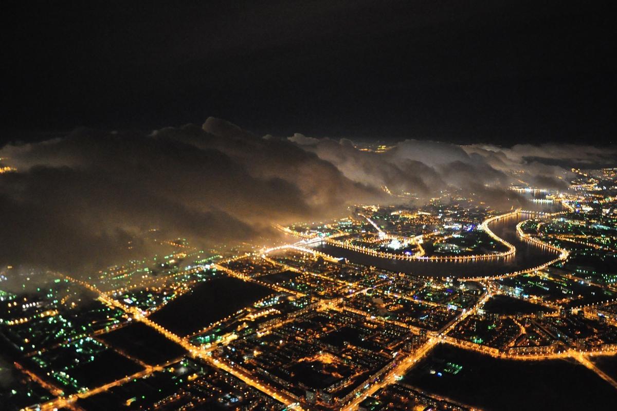 Ночной полет на самолете в СПб