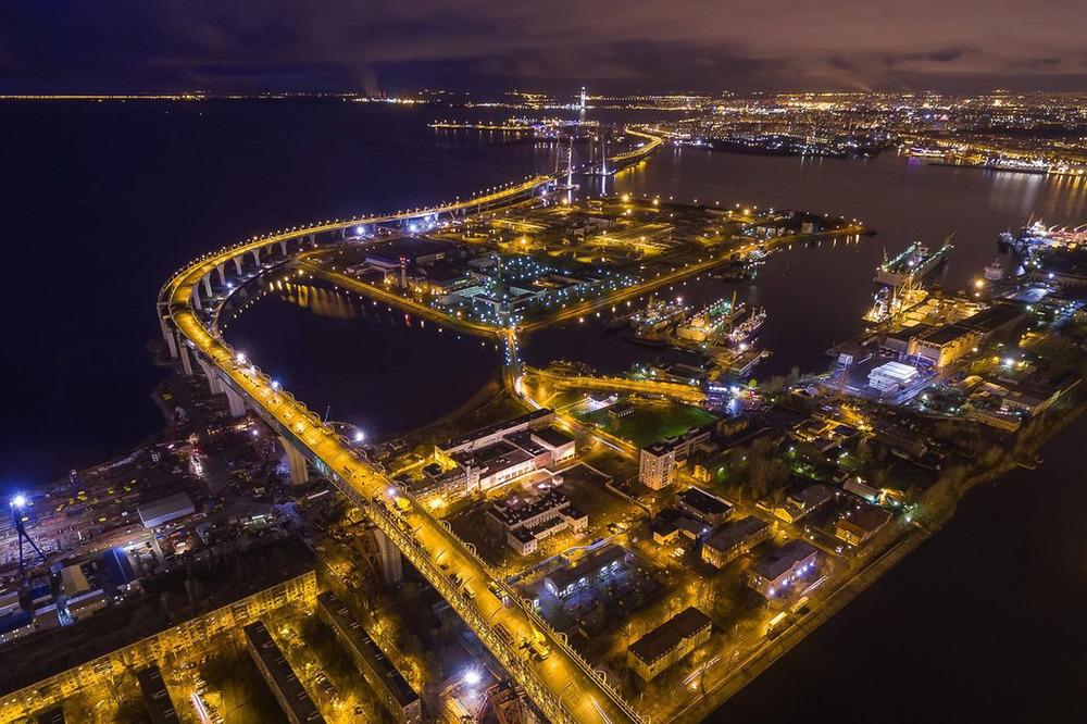 Романтический полет ночью в Санкт-Петербурге