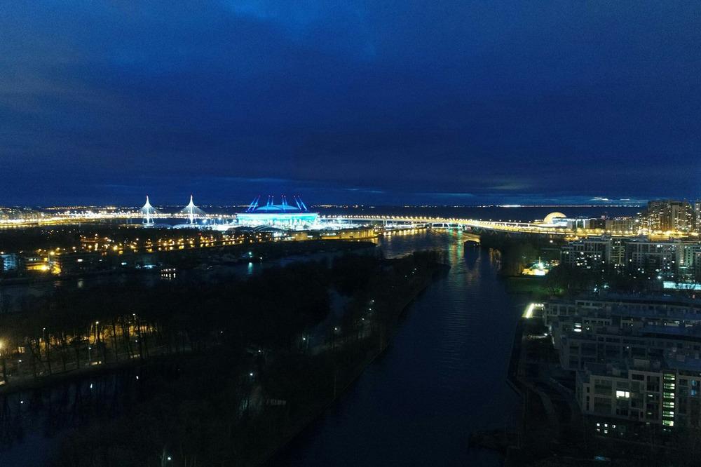 Ночной Петербург с самолета